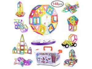 Gifts2U 148 PCS Magnetic Building Blocks for Kids with Storage Box Magnetic Tiles Building Set STEM Preschool Educational Construction Kit Magnet Stacking Toys Gift for Boys and Girls