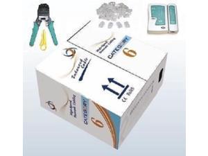 1000' Ft CAT6 UTP LAN Solid Network Cable + Network Tool Kit Tester/Crimper/Plug