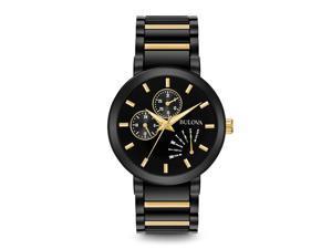 Bulova Mens Black Day/Date Two Tone Bracelet Dress Watch 98C124