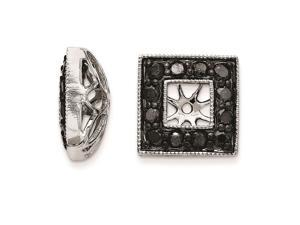 14K White Gold Black Diamond Square Jacket Earrings