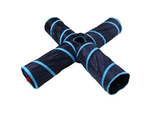 Foldable Portable 4 Ways Tunnel Dark Blue Stripy Tunnel with Fluff Ball and Bell Cat Dogs Playing Tunnel Blue