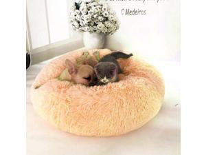 Round Shape Plush Pet Nest Dog Cat Calming Bed Soft Long Plush Comfortable Self Sleeping Mat Winter Puppy Kitten Warm House Size XL Light Brown
