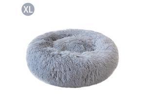Round Shape Plush Pet Nest Dog Cat Calming Bed Soft Long Plush Comfortable Self Sleeping Mat Winter Puppy Kitten Warm House Size XL Light Grey