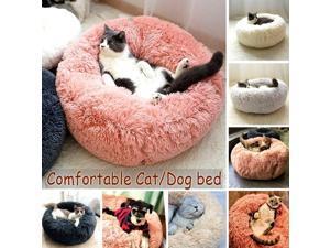 Round Shape Plush Pet Nest Dog Cat Calming Bed Soft Long Plush Comfortable Self Sleeping Mat Winter Puppy Kitten Warm House Size XL Coffee