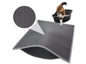 Washable Honeycomb Double-layer Waterproof Non-slip Non-toxic EVA Cat Litter Mat 76cm x 61cm(Grey)