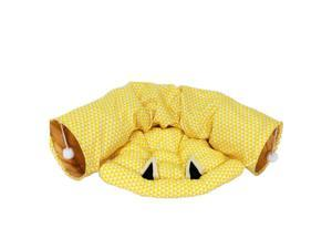 Cat Dog Tube and Tunnel Bed Mat, Collapsible Condo Play Cushion Toy for Pet Kittens Puppy Indoor Outdoor Interactive, Yellow