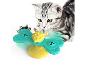 Windmill Cat Toy, Interactive Turntable Teasing with Suction Cup, Funny Kitten Toys, Grooming Shedding Massage Scratching Tickle Cats