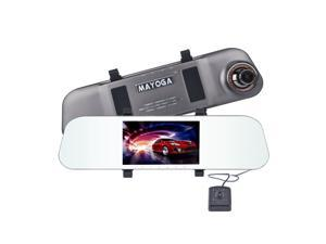 "Dual Lens Car Camera, MAYOGA 5"" FHD 1080P Rearview Mirror Camera Front and Rear Dash Cam DVR Vehicle Dashboard Camcorder Video Recorder, 170° Wide Angle / Super Night Vision"