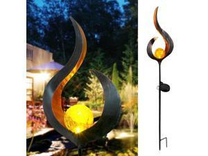 Solar Flame Light LED Iron Outdoor Garden Lawn Decorative Light Ground Light LED Landscape Lights