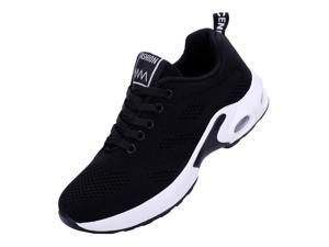 Women Lightweight Sneakers Stylish Running Shoes Tennis Indoor Outdoor Sports Shoes Breathable Black
