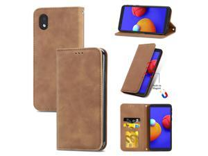 Case for Samsung Galaxy A01 Core Magnetic Closure Leather Wallet Cover Housse Etui Shockproof - Marron
