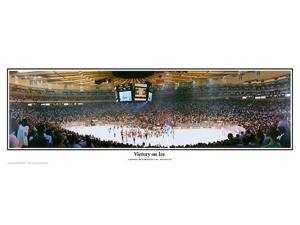 NHL New York Rangers Madison Square Garden Victory on Ice - 13.5x39 Panoramic Poster. Deluxe Double Matted with Black Metal Frame #4001