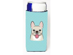Checkerboard Blue French Bulldog Ultra Beverage Insulators for slim cans BB1176MUK