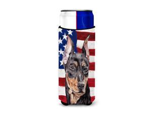 German Pinscher with American Flag USA Ultra Beverage Insulators for slim cans SC9644MUK