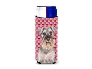 Hearts Love and Valentine's Day Schnauzer Ultra Beverage Insulators for slim cans KJ1193MUK