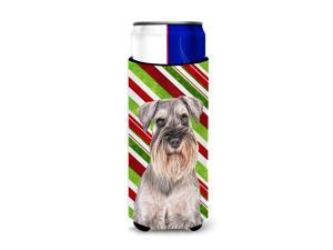 Candy Cane Holiday Christmas Schnauzer Ultra Beverage Insulators for slim cans KJ1172MUK