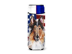 Collie with American Flag USA Ultra Beverage Insulators for slim cans SC9622MUK