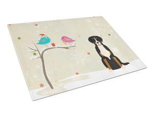 Christmas Presents between Friends Greater Swiss Mountain Dog Glass Cutting Board Large BB2509LCB
