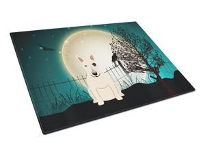 Halloween Scary Bull Terrier White Glass Cutting Board Large BB2328LCB
