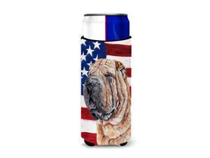 Shar Pei with American Flag USA Ultra Beverage Insulators for slim cans SC9623MUK