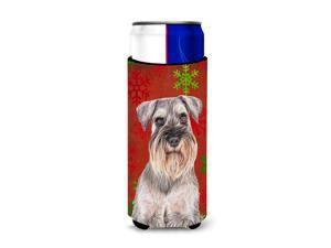 Red Snowflakes Holiday Christmas  Schnauzer Ultra Beverage Insulators for slim cans KJ1186MUK