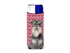 Hearts Love and Valentine's Day Schnauzer Ultra Beverage Insulators for slim cans KJ1192MUK