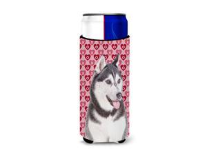 Hearts Love and Valentine's Day Alaskan Malamute Ultra Beverage Insulators for slim cans KJ1189MUK