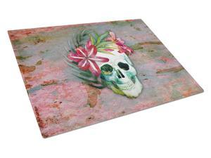 Day of the Dead Skull Flowers Glass Cutting Board Large BB5125LCB