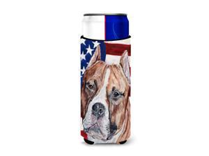 Staffordshire Bull Terrier Staffie with American Flag USA Ultra Beverage Insulators for slim cans SC9632MUK