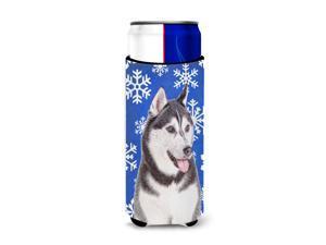 Winter Snowflakes Holiday Alaskan Malamute Ultra Beverage Insulators for slim cans KJ1175MUK