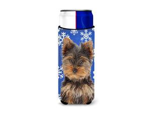 Winter Snowflakes Holiday Yorkie Puppy / Yorkshire Terrier Ultra Beverage Insulators for slim cans KJ1181MUK