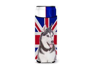 Alaskan Malamute with English Union Jack British Flag Ultra Beverage Insulators for slim cans KJ1161MUK