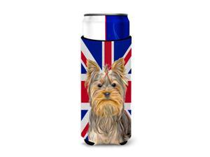 Yorkie / Yorkshire Terrier with English Union Jack British Flag Ultra Beverage Insulators for slim cans KJ1163MUK