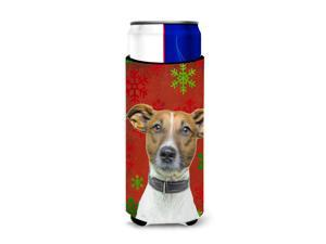 Red Snowflakes Holiday Christmas  Jack Russell Terrier Ultra Beverage Insulators for slim cans KJ1183MUK