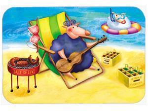 Pig Sunbathing on the Beach Glass Cutting Board Large APH0079LCB