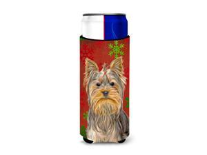 Red Snowflakes Holiday Christmas  Yorkie / Yorkshire Terrier Ultra Beverage Insulators for slim cans KJ1184MUK