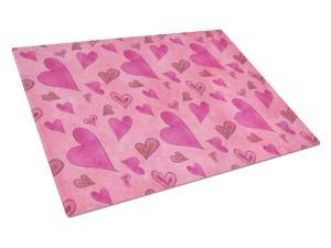 Watercolor Love and Hearts Glass Cutting Board Large BB7550LCB
