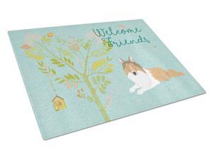 Welcome Friends Collie Glass Cutting Board Large BB7584LCB
