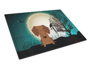 Halloween Scary Dachshund Red Brown Glass Cutting Board Large BB2320LCB