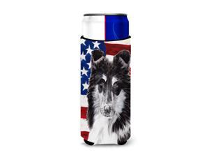 Black and White Collie with American Flag USA Ultra Beverage Insulators for slim cans SC9630MUK