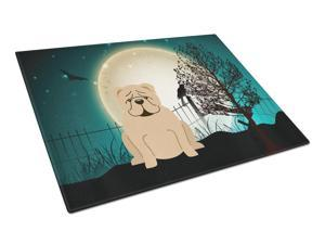 Halloween Scary  English Bulldog Fawn Glass Cutting Board Large BB2314LCB