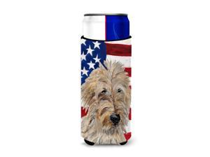 Golden Doodle 2 with American Flag USA Ultra Beverage Insulators for slim cans SC9643MUK