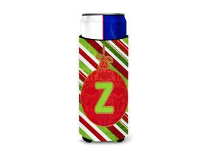 Christmas Oranment Holiday Monogram Initial  Letter Z Ultra Beverage Insulators for slim cans CJ1039-ZMUK