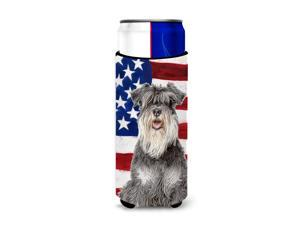 USA American Flag with Schnauzer Ultra Beverage Insulators for slim cans KJ1157MUK