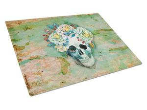 Day of the Dead Skull with Flowers Glass Cutting Board Large BB5124LCB