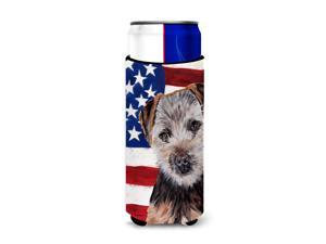Norfolk Terrier Puppy with American Flag USA Ultra Beverage Insulators for slim cans SC9639MUK