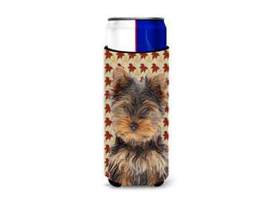 Fall Leaves Yorkie Puppy / Yorkshire Terrier Ultra Beverage Insulators for slim cans KJ1209MUK