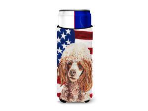 Red Miniature Poodle with American Flag USA Ultra Beverage Insulators for slim cans SC9627MUK