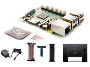 RaspberryPiCafe® Raspberry Pi 2 Deluxe Project Starter Kit w/8GB SanDisk® Class 10 MicroSD with NOOBS, 5.1v 2A (11W) PSU, 40 Pin MF Jumper Cables, Adafruit T-Cobbler Plus & PiDish w/BreadBoard