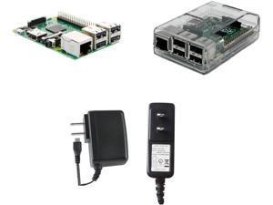 Raspberry Pi 3 Model B (2016 Model) Basics Kit w/Clear Case, 5.25V 2.4A MicroUSB PSU (12.6W)